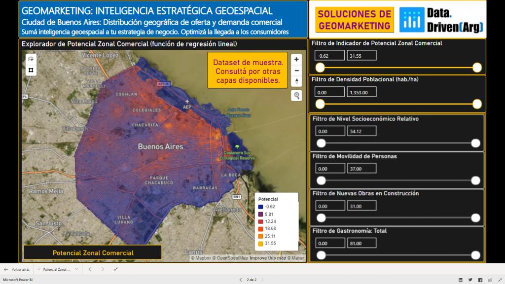 Soluciones de Geomarketing. Explorador de Potencial Comercial: Ciudad Autónoma de Buenos Aires (Argentina)