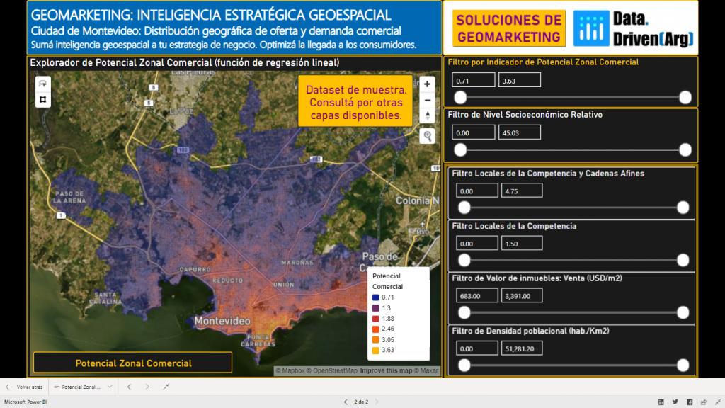 Soluciones de Geomarketing. Explorador de Potencial Comercial: Ciudad de Montevideo (Uruguay)